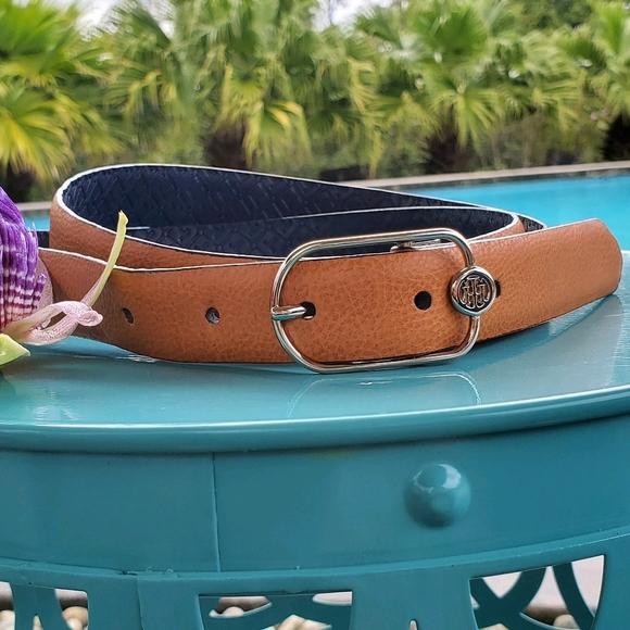 Tommy Hilfiger stylish Belt sz Lg, brown/silver